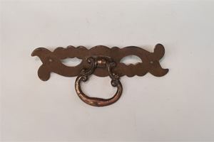 antique brass plate with ring pull