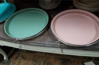 painted silver plated trays